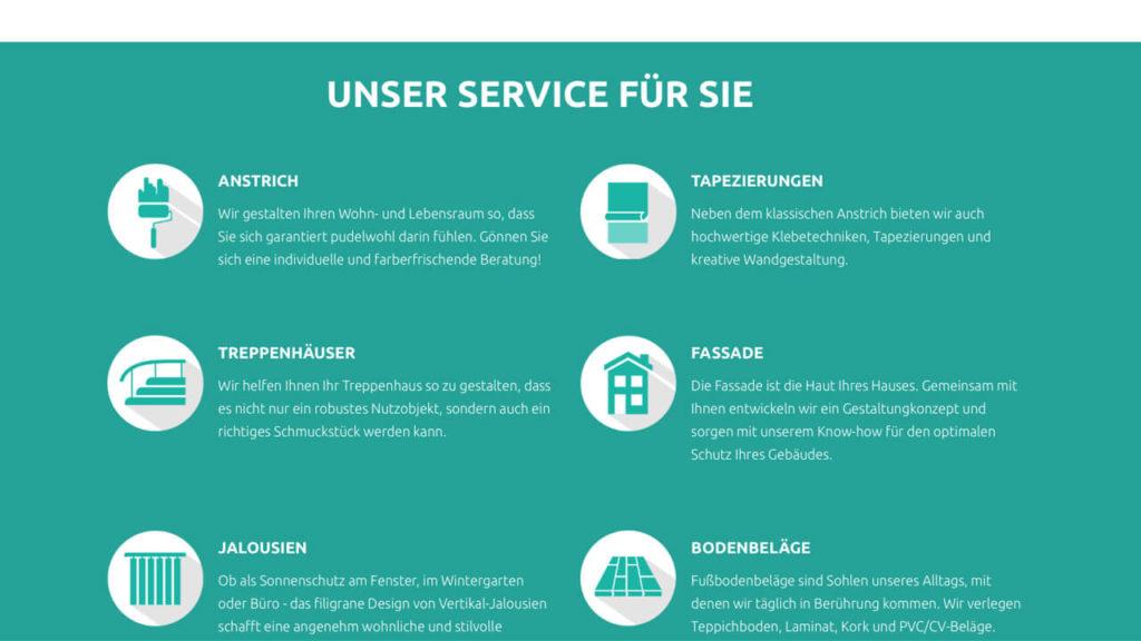 Webseite für Malermeister - Service
